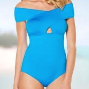 Jantzen Blue Gem Crossover Off Shoulder Swimsuit